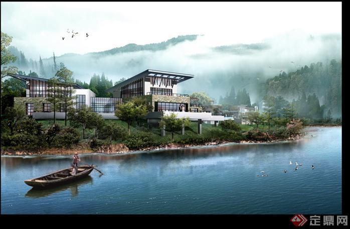 某现代风格大别墅园林景观设计效果图psd格式,该景观设计方