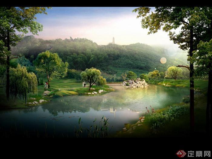某公园水景区园林景观设计效果图psd格式