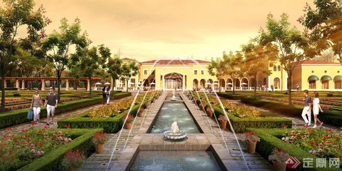 别墅区中央条形喷泉园林景观设计效果图psd格式