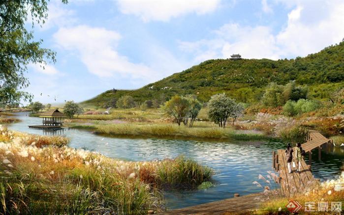 某公园湖泊园林景观设计效果图psd格式,该景观设计方案造型