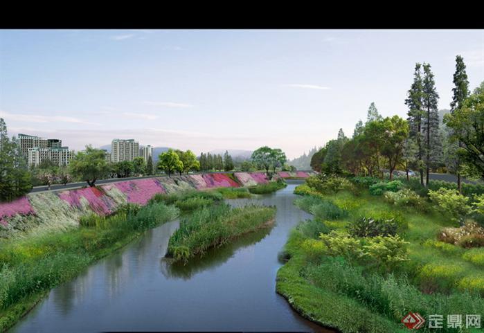 某道路旁河道园林景观设计效果图psd格式