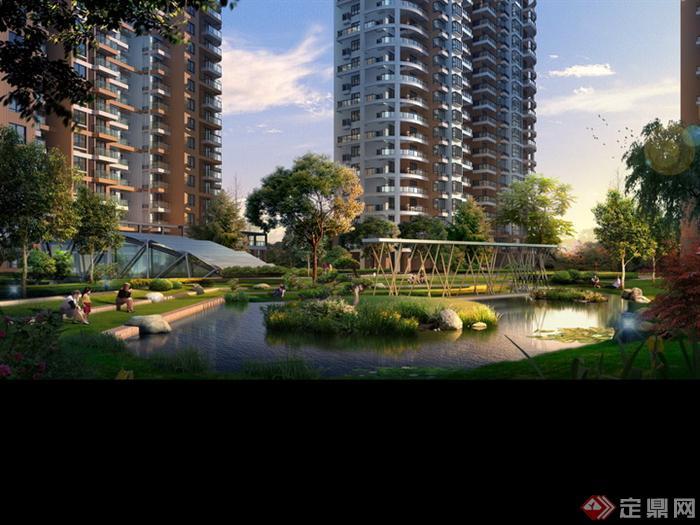 某高层小区楼间水景园林景观设计效果图psd格式