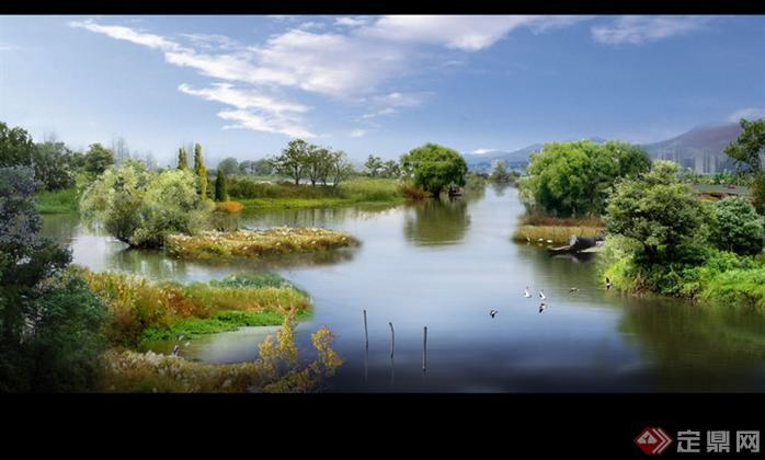 某湿地公园河道局部园林景观设计效果图psd格式