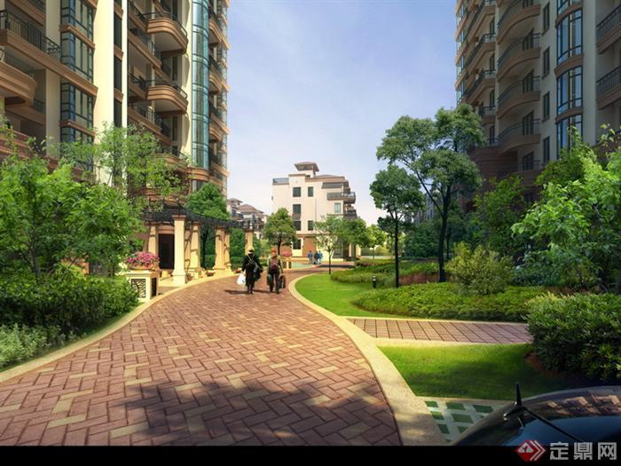 某小区弧形入户道路园林景观设计效果图psd格式,该景观设计