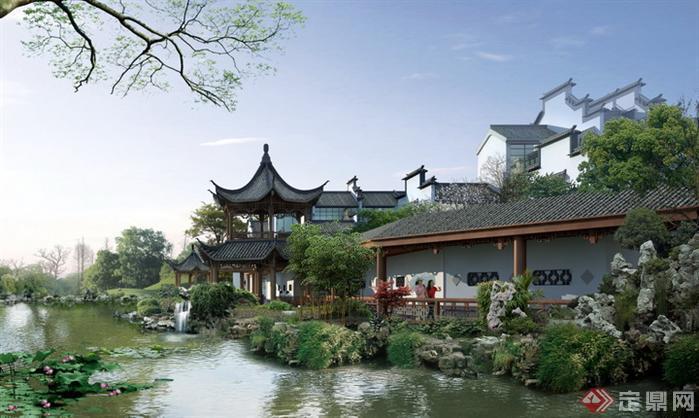某公园中式滨水走廊园林景观设计效果图psd格式,该景观设计