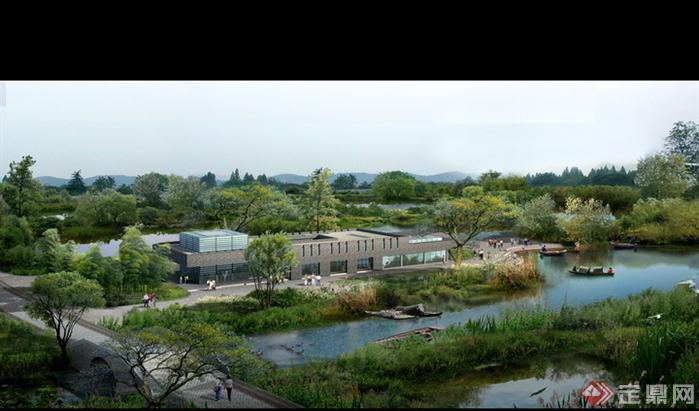 某湿地公园管理中心园林景观设计效果图psd格式
