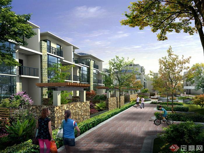 某别墅区庭院围墙及道路园林景观设计效果图psd格式