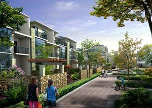 某别墅区庭院格式及道路园林景观设计效果图psd围墙度假河北别墅图片