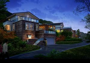 某别墅区道路夜景园林景观设计效果图psd格式