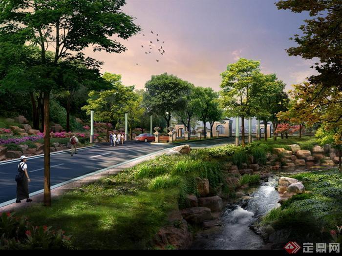 某别墅区入口及河道园林景观设计效果图psd格式