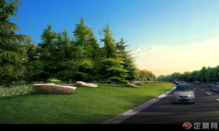 某道路分隔带园林景观设计效果图psd格式,该景观设计方案造