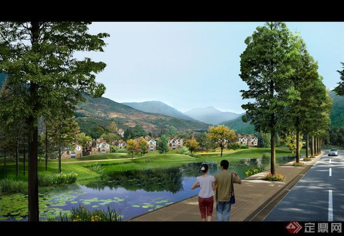 某道路旁水景园林景观设计效果图psd格式