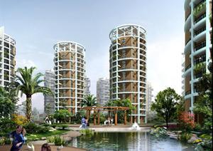 某现代双拼别墅园林景观设计效果图psd格式,该景观设计方案