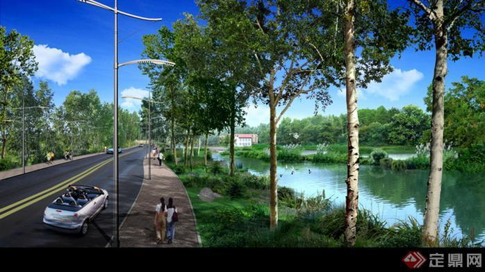 某道路及河道园林景观设计效果图psd格式,该景观设计方案造