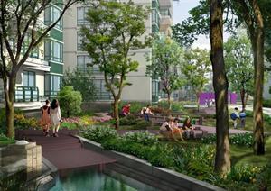 某小区跌水园林景观设计效果图psd格式,该景观设计方案造型