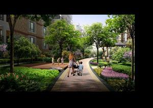某小区楼间绿化园林景观设计效果图psd格式