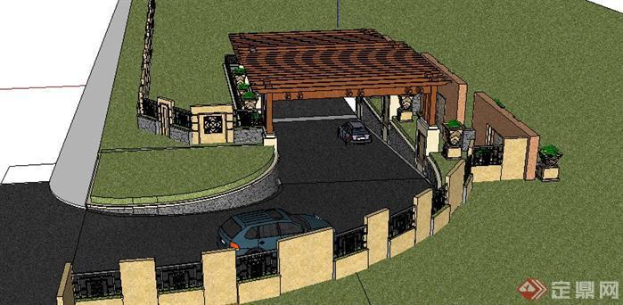 出入口及景墙sketchup(su)3d模型