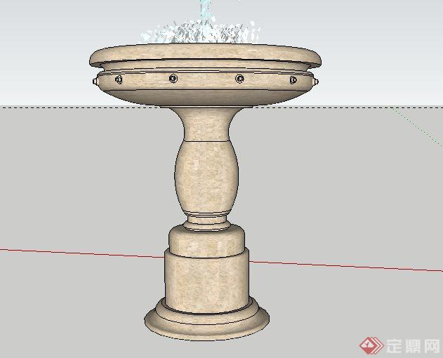 欧式喷泉景观跌水钵sketchup(su)3d模型