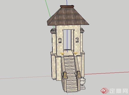 东南亚风格门楼景观小品SketchUp SU 3D模型