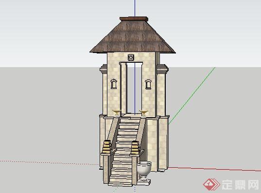东南亚风格长条形门楼景观小品SketchUp SU 3D模型