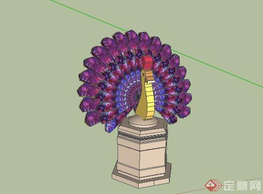 东南亚风格孔雀开屏景观小品SketchUp SU 3D模型
