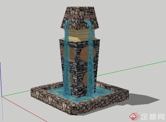 东南亚喷泉景观小品SketchUp SU 3D模型