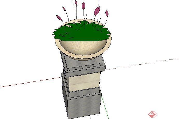 东南亚风格花钵景观小品sketchup(su)3d模型素材