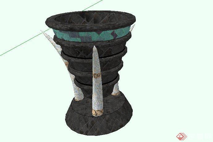 东南亚风格雕塑火盆SketchUp SU 3D模型