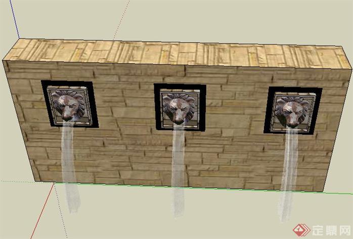 喷水狮子头设计sketchup(su)3d模型,该景观设计方案造型独特,模型