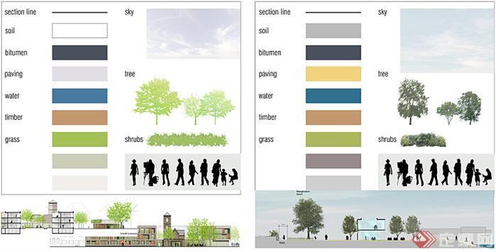 国外园林景观设计psd彩色立面树及小品素材2