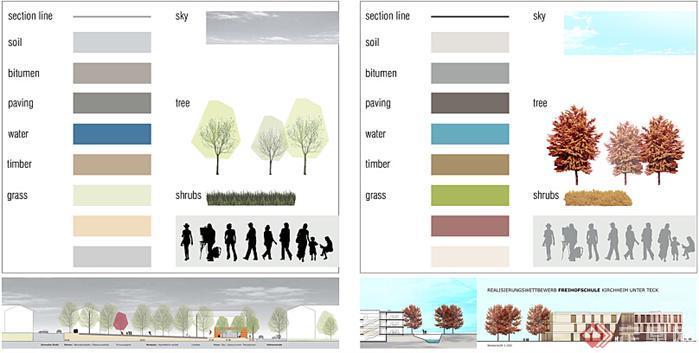 国外园林景观设计psd彩色立面树及小品素材4