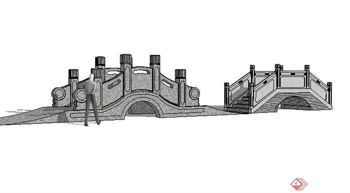 中式景观桥sketchup(su)3d模型