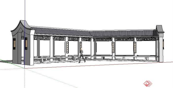 某公园中式景观长廊SketchUp(SU)3D模型
