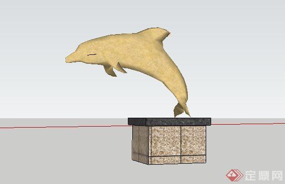 海豚吐水雕塑带基座sketchup(su)3d模型,该小品设计方案造型独特生动