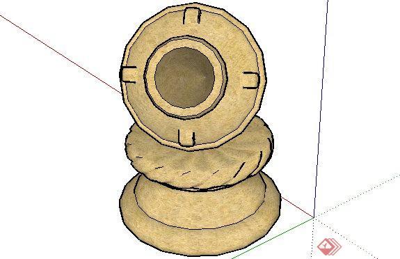 欧式钵吐水雕塑sketchup(su)3d模型