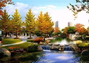 某公园滨水广场园林景观设计效果图psd格式