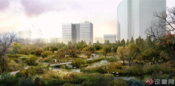 某城市湿地公园园林景观设计效果图psd格式