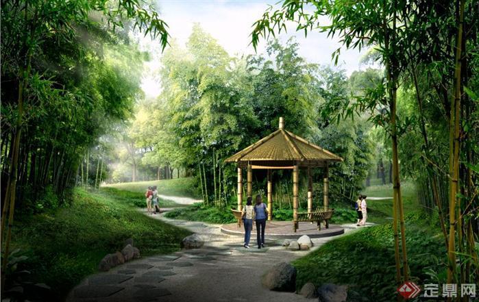某公园竹林幽径园林景观设计效果图psd格式,该景观设计方案