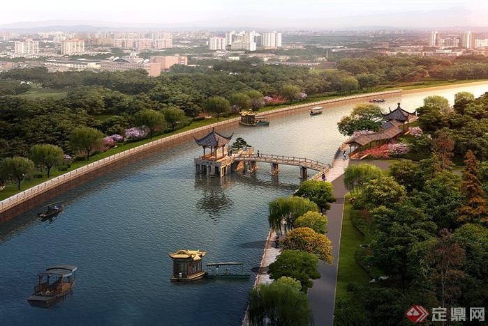 某城市河道园林景观设计效果图psd格式