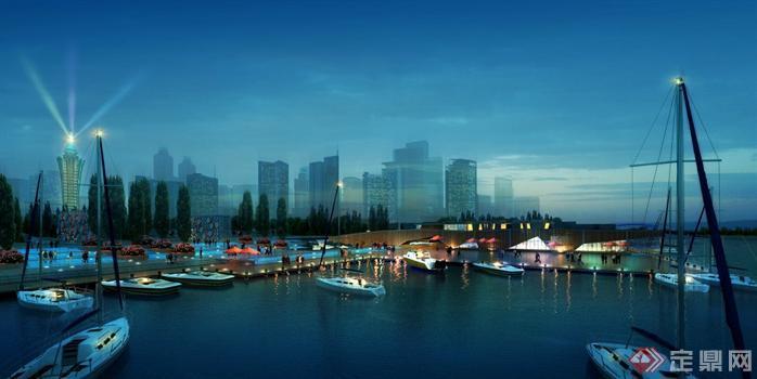 某滨水码头夜景园林景观设计效果图psd格式,该景观设计方案