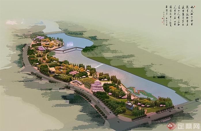 某大型滨水公园园林景观设计鸟瞰效果图psd格式