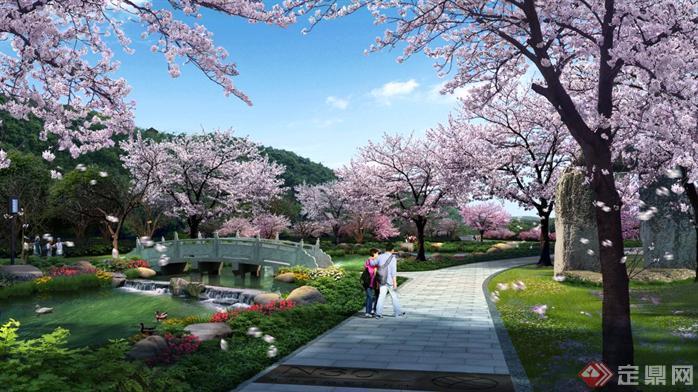 某公园水景桥梁园林景观设计效果图psd格式
