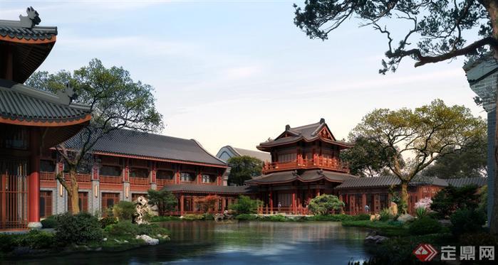 中式商业街中庭水景园林景观设计效果图psd格式