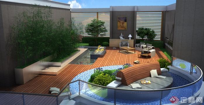 某现代风格屋顶花园园林景观设计效果图psd格式