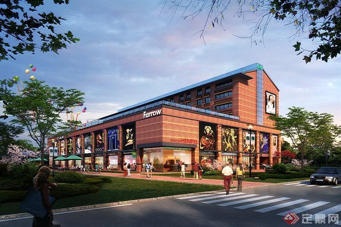 某老厂房商业区园林景观设计效果图psd格式