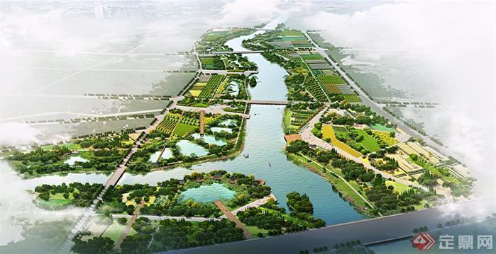 某大型湿地公园园林景观设计鸟瞰效果图psd格式