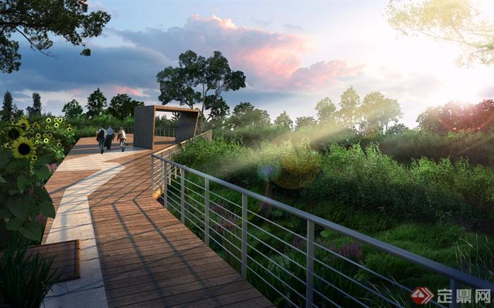 某森林公园观景平台园林景观设计效果图psd格式