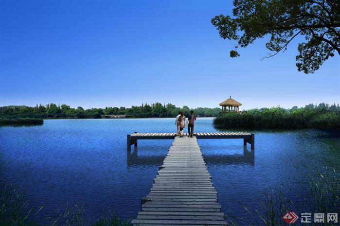 某湖区码头园林景观设计效果图psd格式,该景观设计方案造型