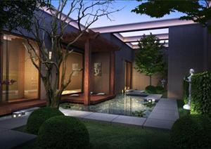 某东南亚风格会所庭院园林景观设计效果图psd格式