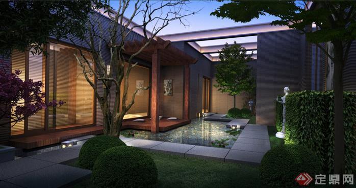 某东南亚风格会所庭院园林景观设计效果图psd格式,该景观设